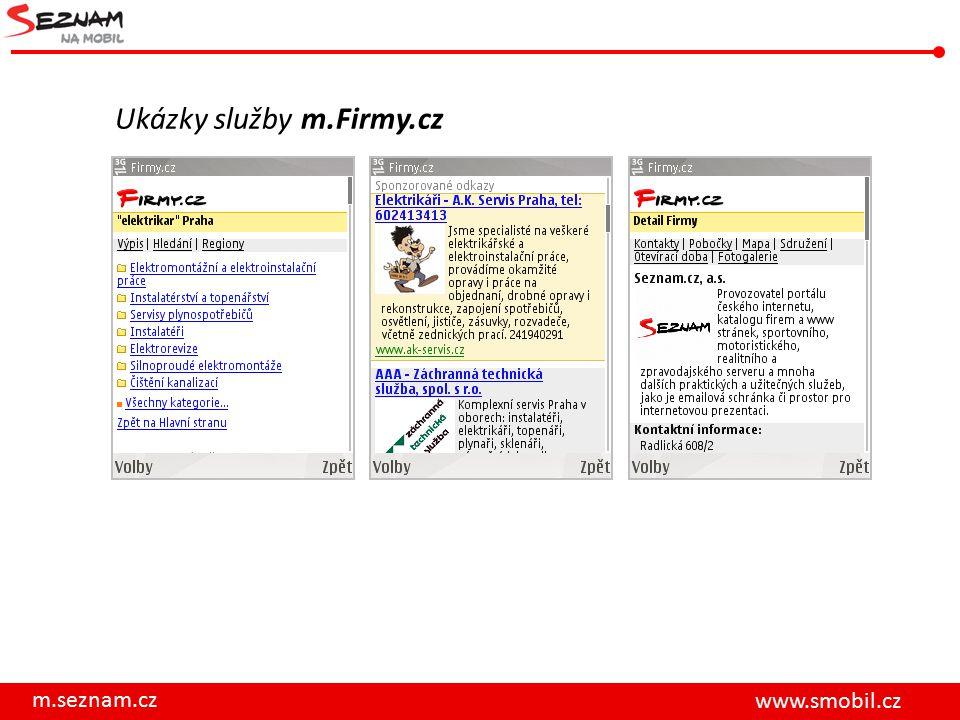 m.seznam.cz www.smobil.cz Ukázky služby m.Firmy.cz