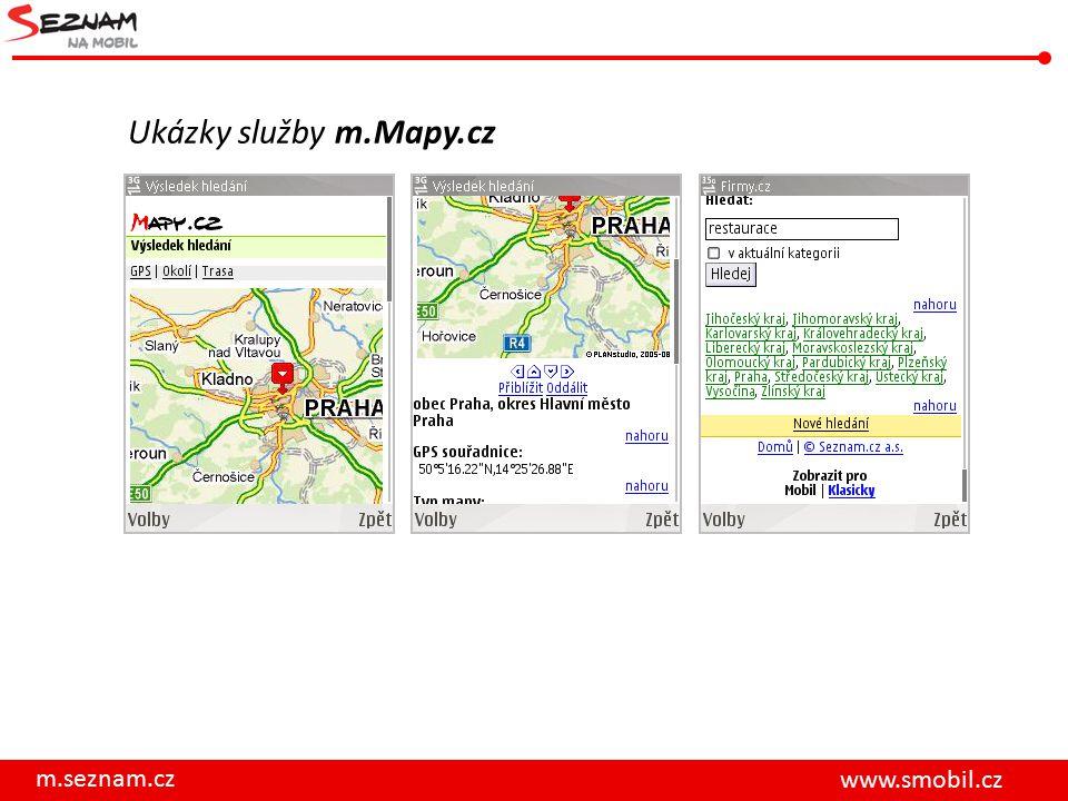 m.seznam.cz www.smobil.cz Ukázky služby m.Mapy.cz