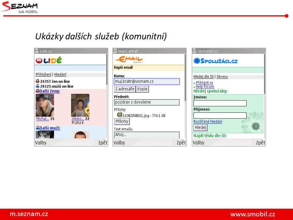m.seznam.cz www.smobil.cz Ukázky dalších služeb (komunitní)