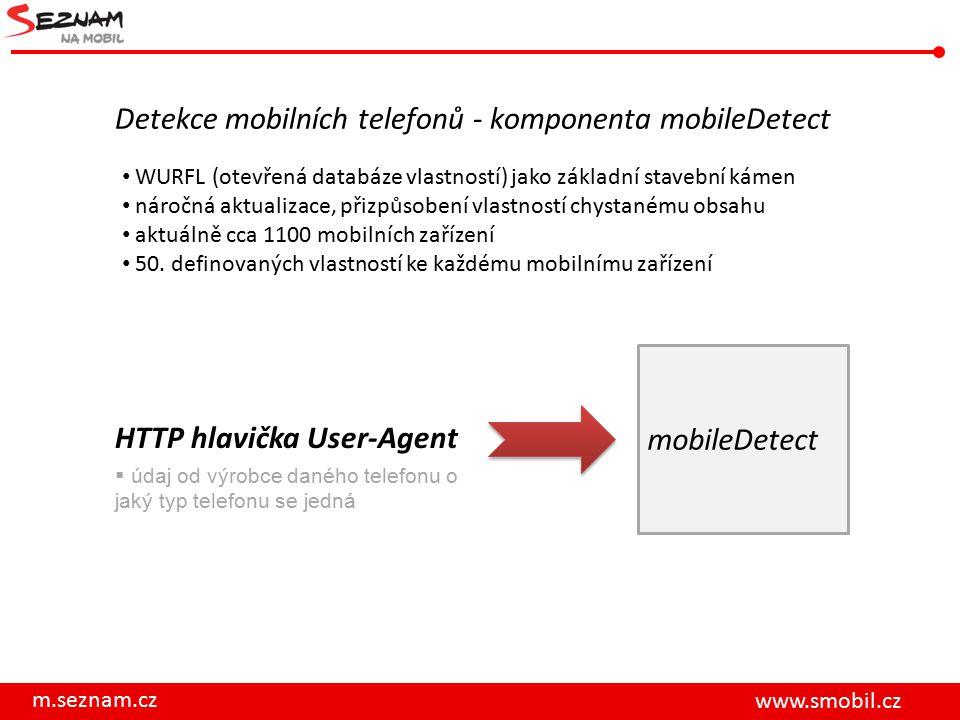 mobileDetect m.seznam.cz www.smobil.cz Detekce mobilních telefonů - komponenta mobileDetect WURFL (otevřená databáze vlastností) jako základní stavební kámen náročná aktualizace, přizpůsobení vlastností chystanému obsahu aktuálně cca 1100 mobilních zařízení 50.