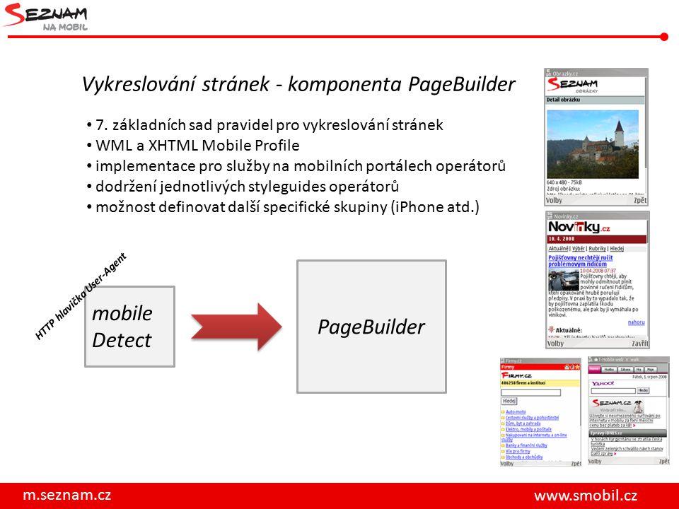 m.seznam.cz www.smobil.cz Vykreslování stránek - komponenta PageBuilder 7. základních sad pravidel pro vykreslování stránek WML a XHTML Mobile Profile