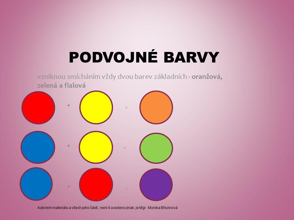 PODVOJNÉ BARVY vzniknou smícháním vždy dvou barev základních - oranžová, zelená a fialová + = + = + = Autorem materiálu a všech jeho částí, není-li uvedeno jinak, je Mgr.