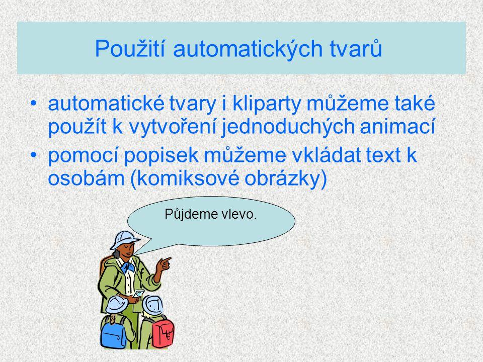 Použití automatických tvarů automatické tvary i kliparty můžeme také použít k vytvoření jednoduchých animací pomocí popisek můžeme vkládat text k osobám (komiksové obrázky) Půjdeme vlevo.