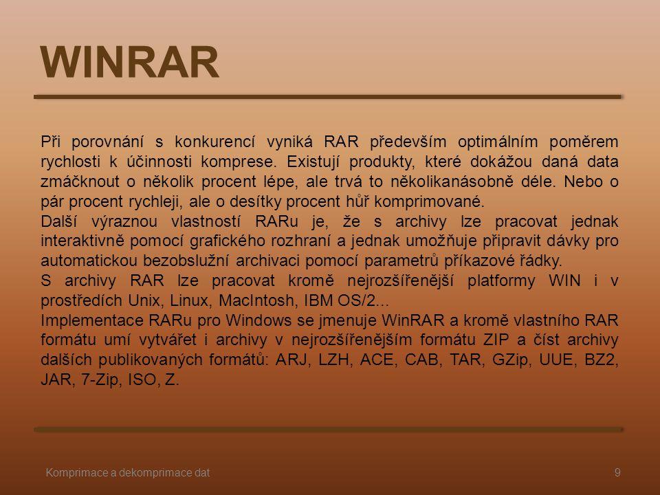 WINRAR 9Komprimace a dekomprimace dat Při porovnání s konkurencí vyniká RAR především optimálním poměrem rychlosti k účinnosti komprese. Existují prod