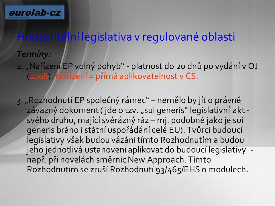 Horizontální legislativa v regulované oblasti Termíny: 2.