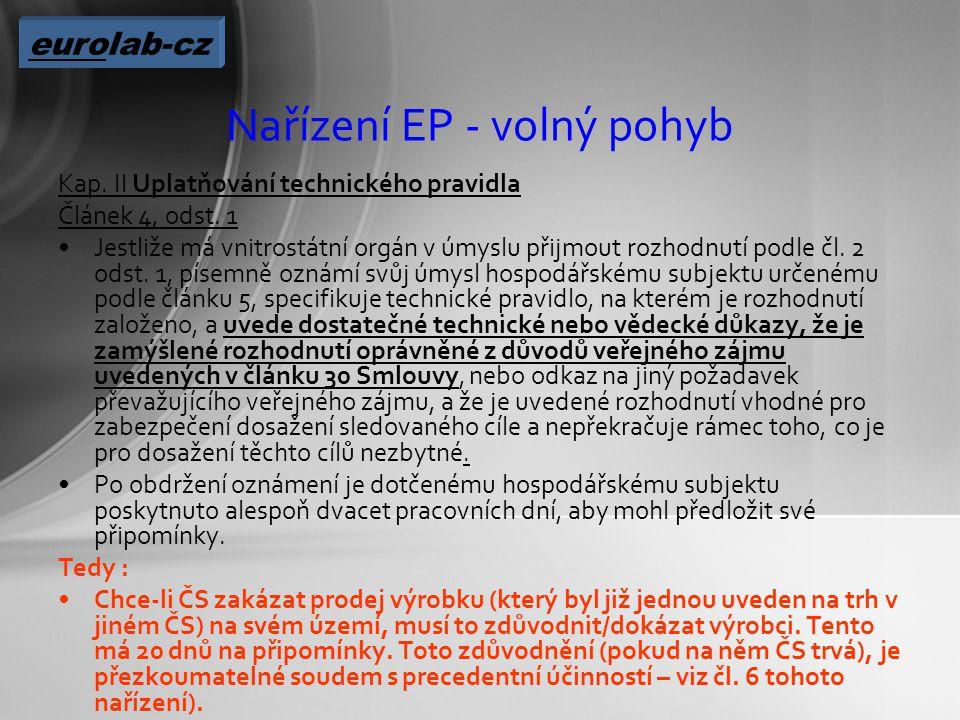 Nařízení EP - volný pohyb Kap. II Uplatňování technického pravidla Článek 4, odst.