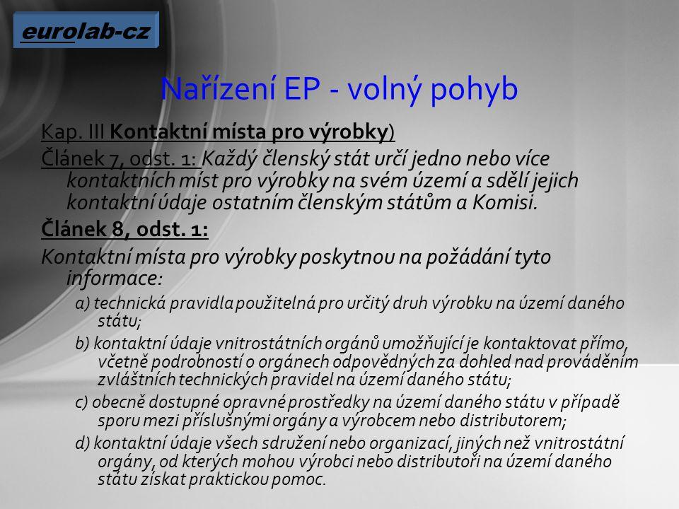 Nařízení EP - volný pohyb Kap. III Kontaktní místa pro výrobky) Článek 7, odst.