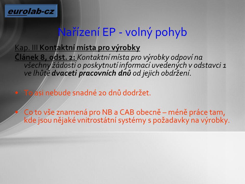 Nařízení EP - volný pohyb Kap. III Kontaktní místa pro výrobky Článek 8, odst.