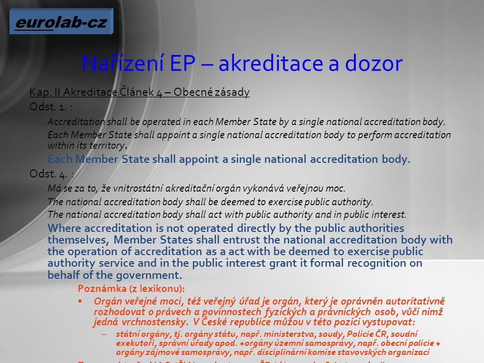 Nařízení EP – akreditace a dozor Kap. II Akreditace Článek 4 – Obecné zásady Odst.