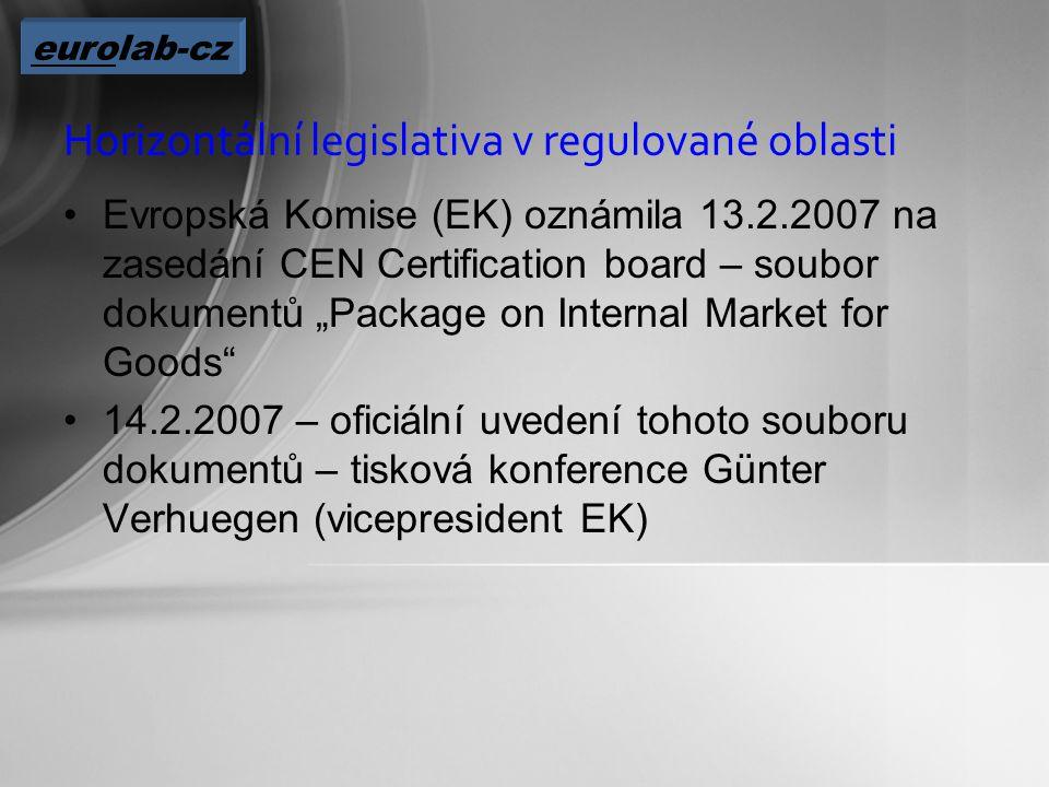 """Horizontální legislativa v regulované oblasti Evropská Komise (EK) oznámila 13.2.2007 na zasedání CEN Certification board – soubor dokumentů """"Package on Internal Market for Goods 14.2.2007 – oficiální uvedení tohoto souboru dokumentů – tisková konference Günter Verhuegen (vicepresident EK) eurolab-cz"""