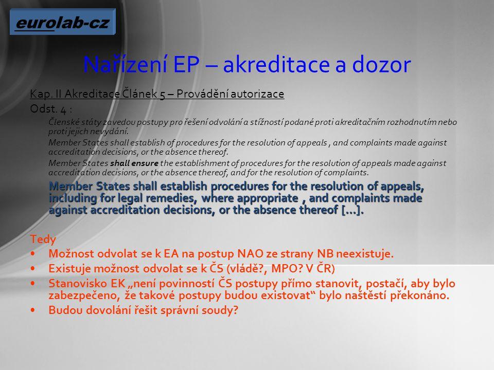 Nařízení EP – akreditace a dozor Kap. II Akreditace Článek 5 – Provádění autorizace Odst.