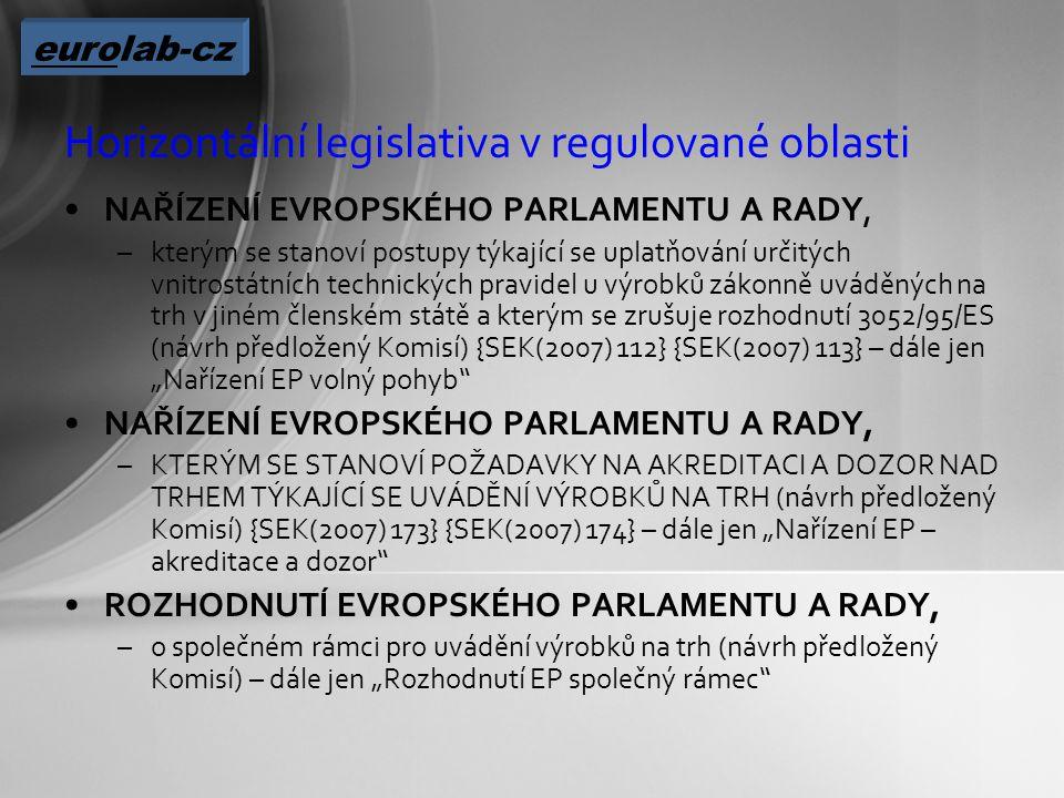 """Horizontální legislativa v regulované oblasti NAŘÍZENÍ EVROPSKÉHO PARLAMENTU A RADY, –kterým se stanoví postupy týkající se uplatňování určitých vnitrostátních technických pravidel u výrobků zákonně uváděných na trh v jiném členském státě a kterým se zrušuje rozhodnutí 3052/95/ES (návrh předložený Komisí) {SEK(2007) 112} {SEK(2007) 113} – dále jen """"Nařízení EP volný pohyb NAŘÍZENÍ EVROPSKÉHO PARLAMENTU A RADY, –KTERÝM SE STANOVÍ POŽADAVKY NA AKREDITACI A DOZOR NAD TRHEM TÝKAJÍCÍ SE UVÁDĚNÍ VÝROBKŮ NA TRH (návrh předložený Komisí) {SEK(2007) 173} {SEK(2007) 174} – dále jen """"Nařízení EP – akreditace a dozor ROZHODNUTÍ EVROPSKÉHO PARLAMENTU A RADY, –o společném rámci pro uvádění výrobků na trh (návrh předložený Komisí) – dále jen """"Rozhodnutí EP společný rámec eurolab-cz"""