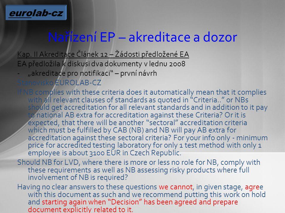 Nařízení EP – akreditace a dozor Kap.