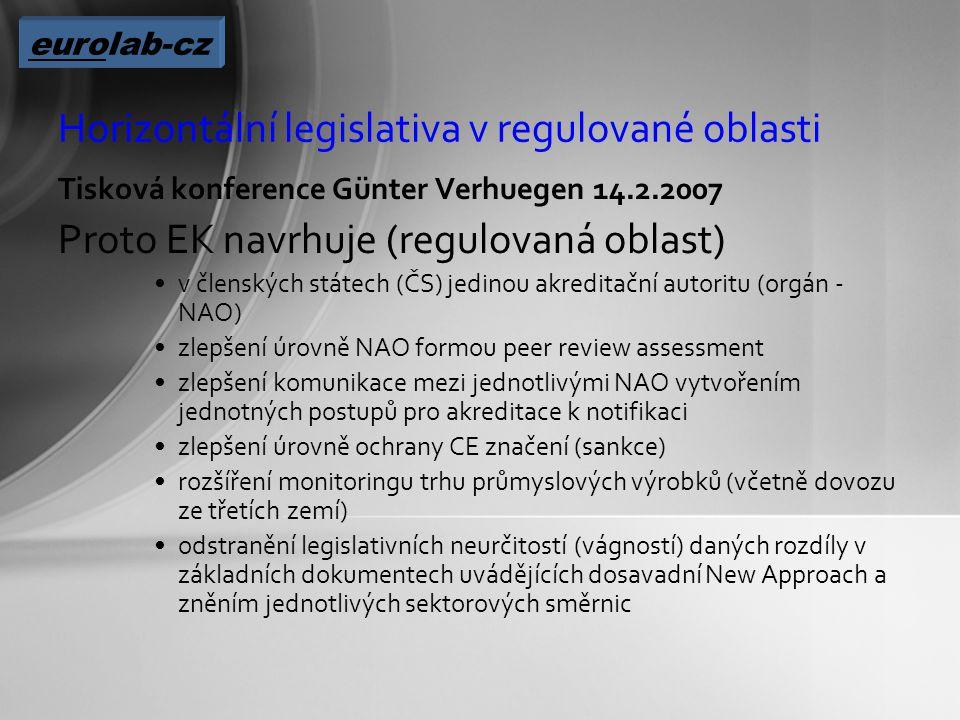 Horizontální legislativa v regulované oblasti Tisková konference Günter Verhuegen 14.2.2007 Proto EK navrhuje (regulovaná oblast) v členských státech (ČS) jedinou akreditační autoritu (orgán - NAO) zlepšení úrovně NAO formou peer review assessment zlepšení komunikace mezi jednotlivými NAO vytvořením jednotných postupů pro akreditace k notifikaci zlepšení úrovně ochrany CE značení (sankce) rozšíření monitoringu trhu průmyslových výrobků (včetně dovozu ze třetích zemí) odstranění legislativních neurčitostí (vágností) daných rozdíly v základních dokumentech uvádějících dosavadní New Approach a zněním jednotlivých sektorových směrnic eurolab-cz