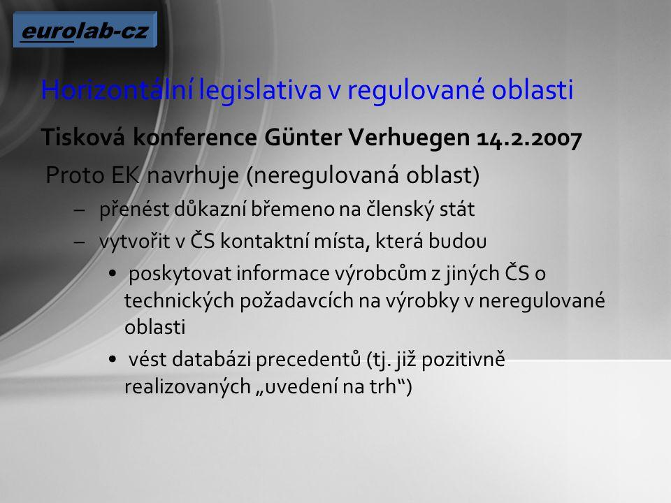 Horizontální legislativa v regulované oblasti Tisková konference Günter Verhuegen 14.2.2007 Proto EK navrhuje (neregulovaná oblast) – přenést důkazní břemeno na členský stát – vytvořit v ČS kontaktní místa, která budou poskytovat informace výrobcům z jiných ČS o technických požadavcích na výrobky v neregulované oblasti vést databázi precedentů (tj.