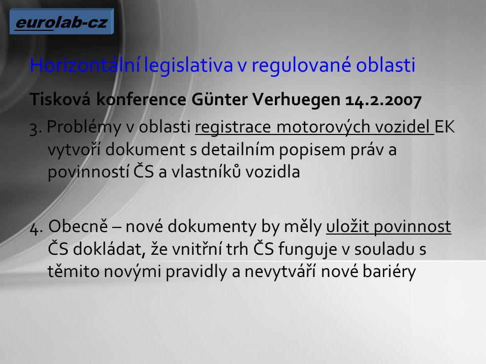 Horizontální legislativa v regulované oblasti Tisková konference Günter Verhuegen 14.2.2007 3.