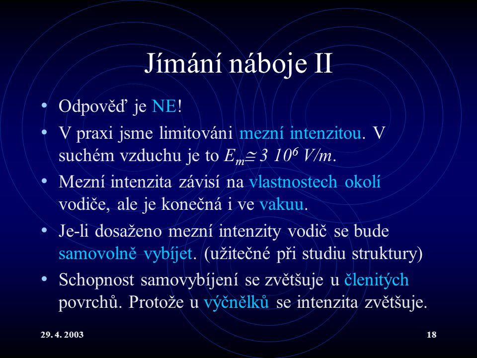 29. 4. 200318 Jímání náboje II Odpověď je NE. V praxi jsme limitováni mezní intenzitou.