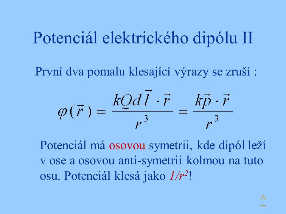 Potenciál elektrického dipólu II První dva pomalu klesající výrazy se zruší : Potenciál má osovou symetrii, kde dipól leží v ose a osovou anti-symetrii kolmou na tuto osu.