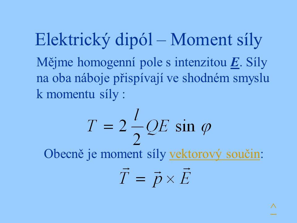 Elektrický dipól – Moment síly Mějme homogenní pole s intenzitou E.