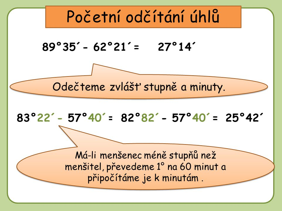 DD Početní odčítání úhlů 89°35´- 62°21´=27°14´ Odečteme zvlášť stupně a minuty.