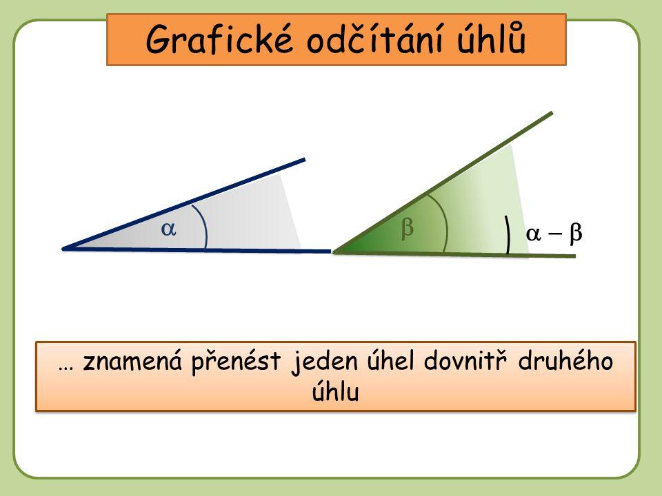 DD Grafické odčítání úhlů … znamená přenést jeden úhel dovnitř druhého úhlu   