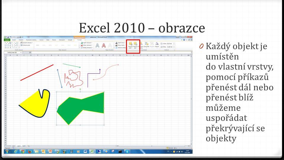 Excel 2010 – obrazce 0 Každý objekt je umístěn do vlastní vrstvy, pomocí příkazů přenést dál nebo přenést blíž můžeme uspořádat překrývající se objekt