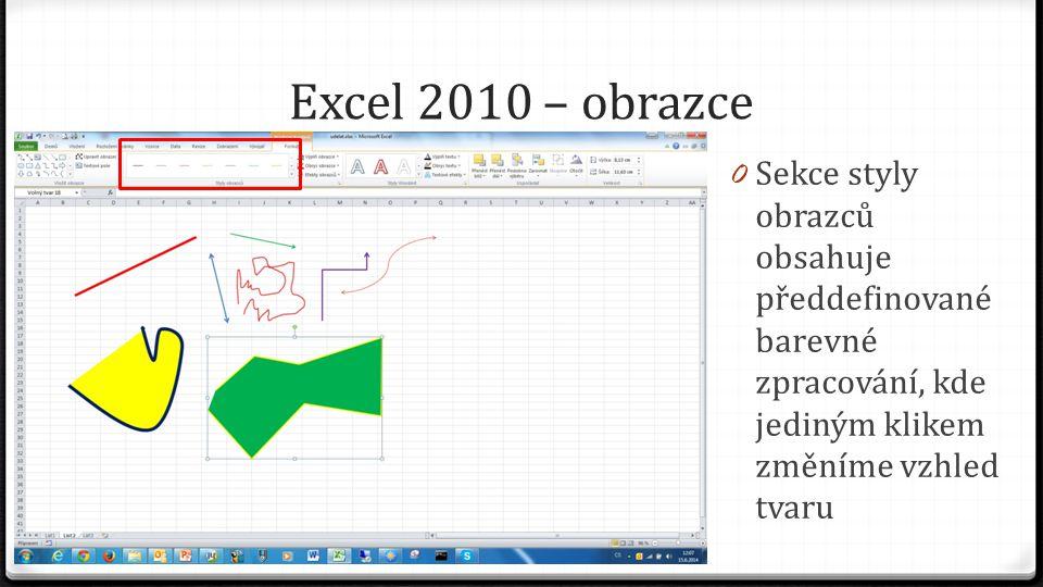 Excel 2010 – obrazce 0 Sekce styly obrazců obsahuje předdefinované barevné zpracování, kde jediným klikem změníme vzhled tvaru