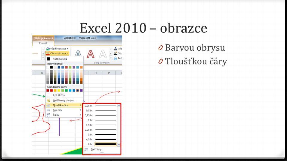 Excel 2010 – obrazce 0 Barvou obrysu 0 Tloušťkou čáry 0 Typem čáry