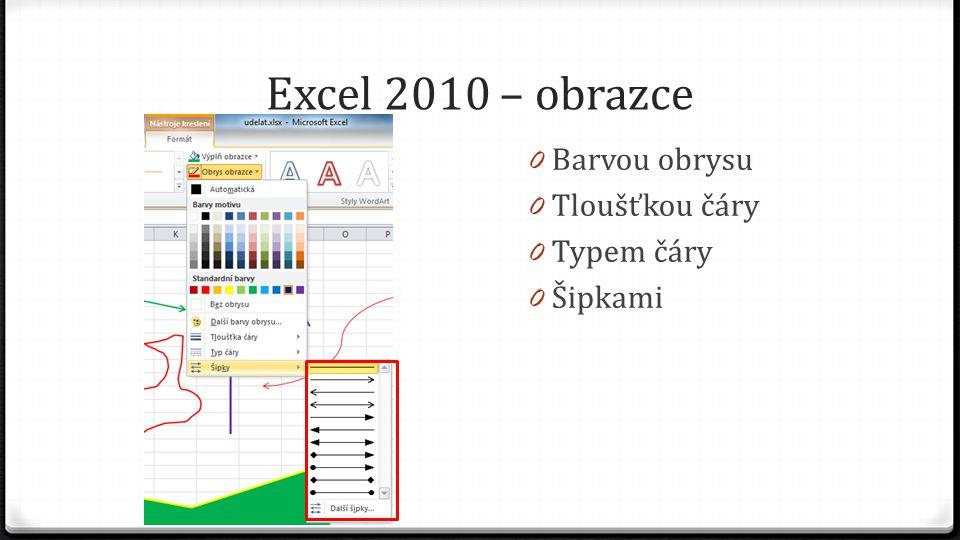 Excel 2010 – obrazce 0 Barvou obrysu 0 Tloušťkou čáry 0 Typem čáry 0 Šipkami