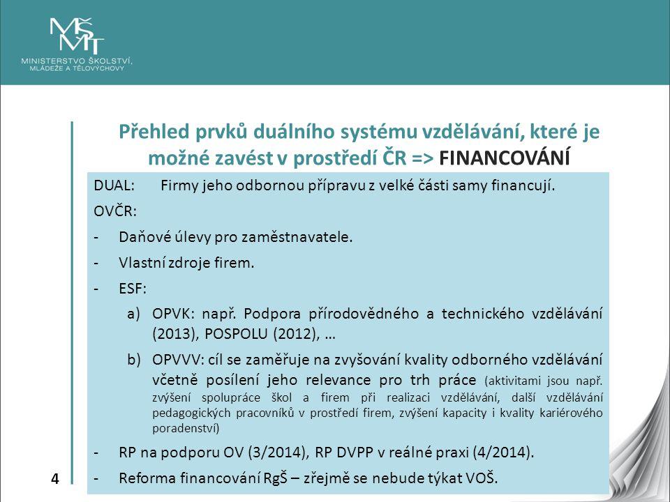 4 Přehled prvků duálního systému vzdělávání, které je možné zavést v prostředí ČR => FINANCOVÁNÍ DUAL:Firmy jeho odbornou přípravu z velké části samy financují.