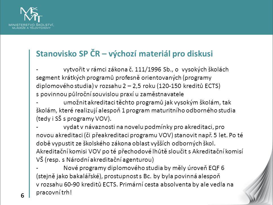 6 Stanovisko SP ČR – výchozí materiál pro diskusi - vytvořit v rámci zákona č.