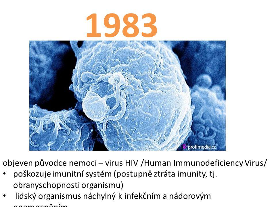 1983 objeven původce nemoci – virus HIV /Human Immunodeficiency Virus/ poškozuje imunitní systém (postupně ztráta imunity, tj.