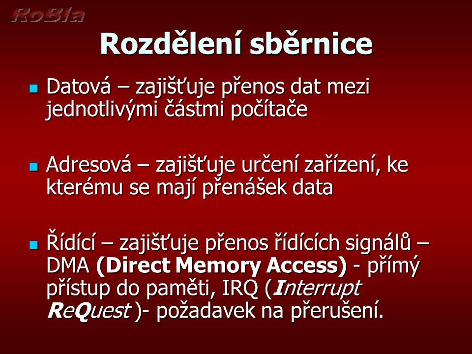 Rozdělení sběrnice Datová – zajišťuje přenos dat mezi jednotlivými částmi počítače Datová – zajišťuje přenos dat mezi jednotlivými částmi počítače Adresová – zajišťuje určení zařízení, ke kterému se mají přenášek data Adresová – zajišťuje určení zařízení, ke kterému se mají přenášek data Řídící – zajišťuje přenos řídících signálů – DMA (Direct Memory Access) - přímý přístup do paměti, IRQ (Interrupt ReQuest )- požadavek na přerušení.