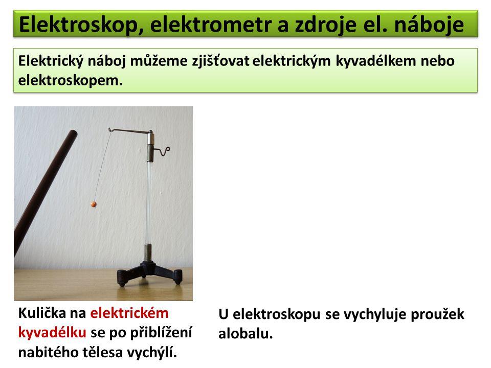 Elektroskop, elektrometr a zdroje el. náboje Elektrický náboj můžeme zjišťovat elektrickým kyvadélkem nebo elektroskopem. Elektrický náboj můžeme zjiš