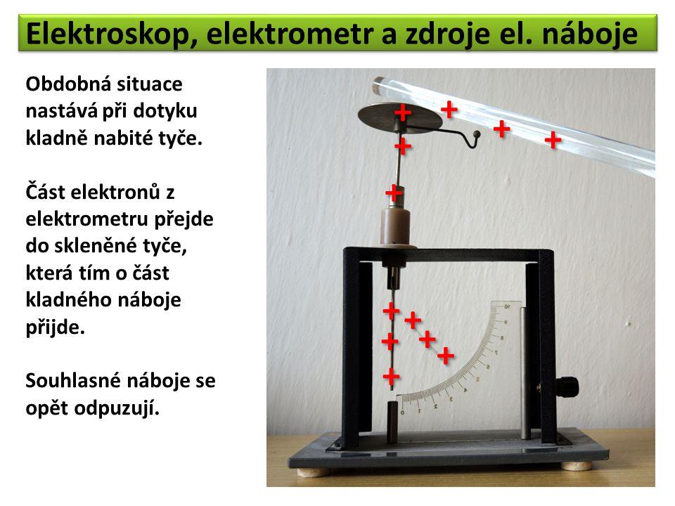 Elektroskop, elektrometr a zdroje el. náboje Obdobná situace nastává při dotyku kladně nabité tyče. Část elektronů z elektrometru přejde do skleněné t