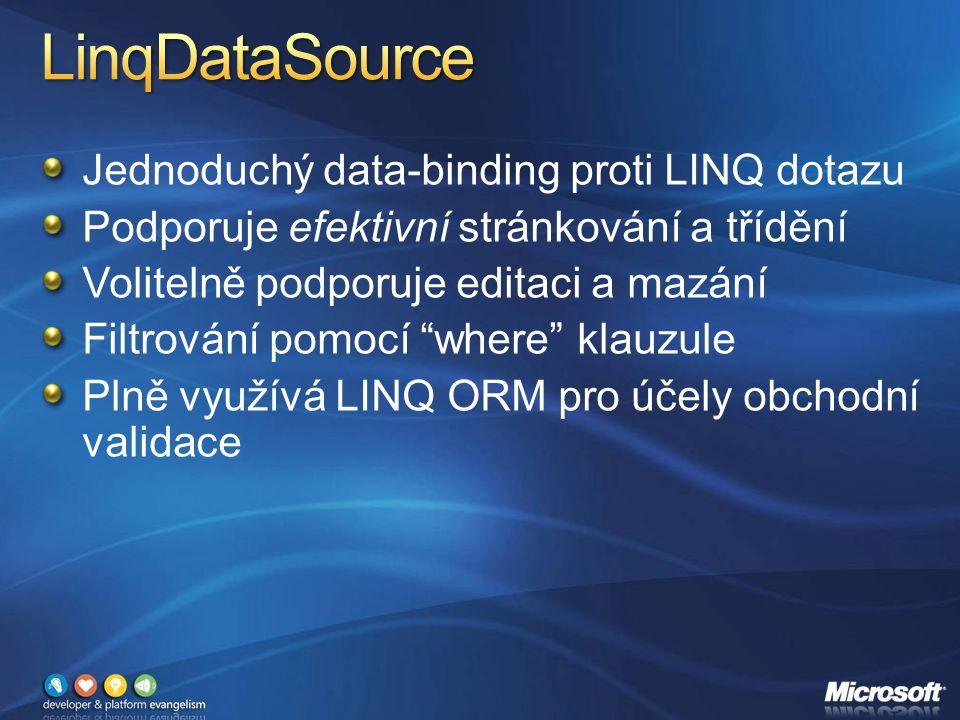 Jednoduchý data-binding proti LINQ dotazu Podporuje efektivní stránkování a třídění Volitelně podporuje editaci a mazání Filtrování pomocí where klauzule Plně využívá LINQ ORM pro účely obchodní validace