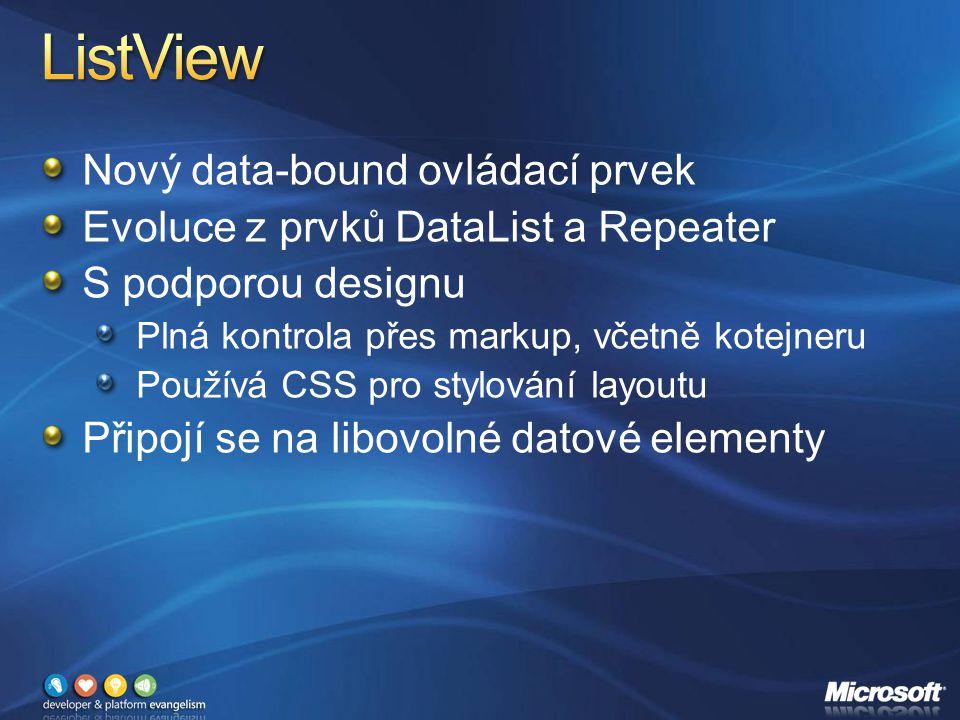 Nový data-bound ovládací prvek Evoluce z prvků DataList a Repeater S podporou designu Plná kontrola přes markup, včetně kotejneru Používá CSS pro stylování layoutu Připojí se na libovolné datové elementy