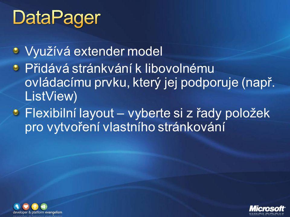 Využívá extender model Přidává stránkvání k libovolnému ovládacímu prvku, který jej podporuje (např.