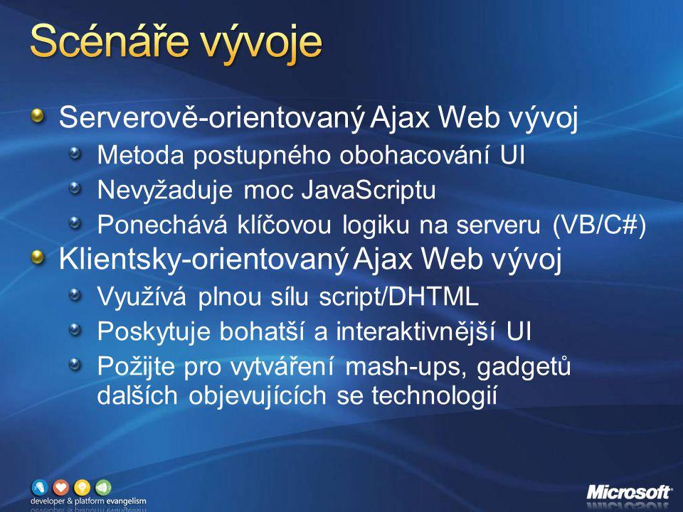 Serverově-orientovaný Ajax Web vývoj Metoda postupného obohacování UI Nevyžaduje moc JavaScriptu Ponechává klíčovou logiku na serveru (VB/C#) Klientsky-orientovaný Ajax Web vývoj Využívá plnou sílu script/DHTML Poskytuje bohatší a interaktivnější UI Požijte pro vytváření mash-ups, gadgetů dalších objevujících se technologií