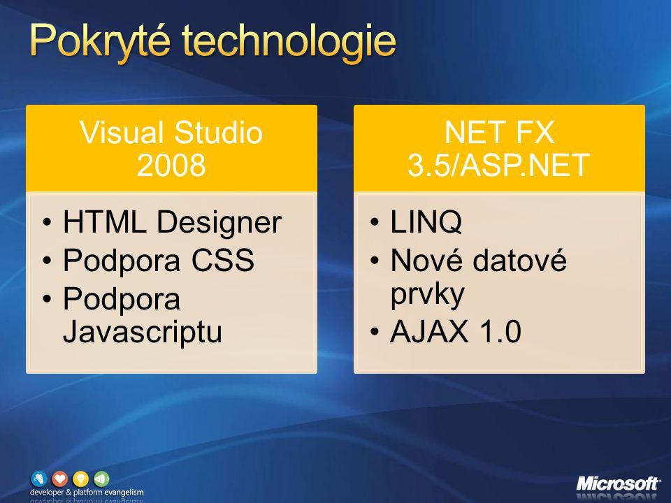Visual Studio 2008 HTML Designer Podpora CSS Podpora Javascriptu NET FX 3.5/ASP.NET LINQ Nové datové prvky AJAX 1.0