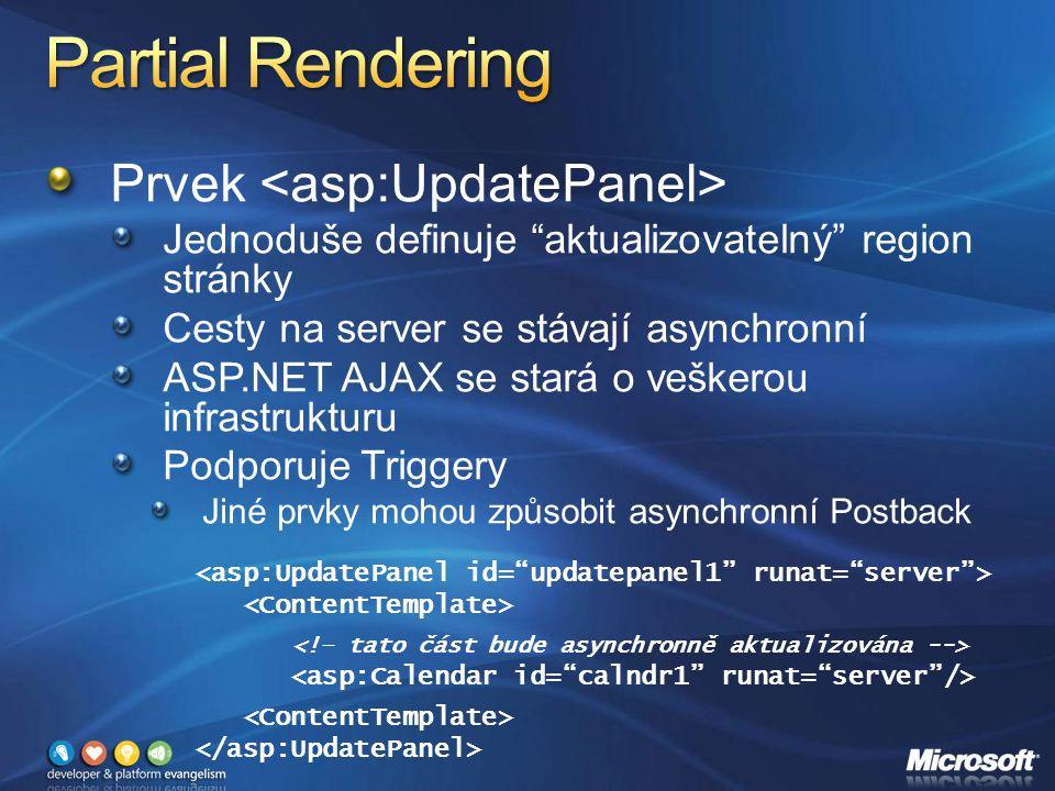 Prvek Jednoduše definuje aktualizovatelný region stránky Cesty na server se stávají asynchronní ASP.NET AJAX se stará o veškerou infrastrukturu Podporuje Triggery Jiné prvky mohou způsobit asynchronní Postback