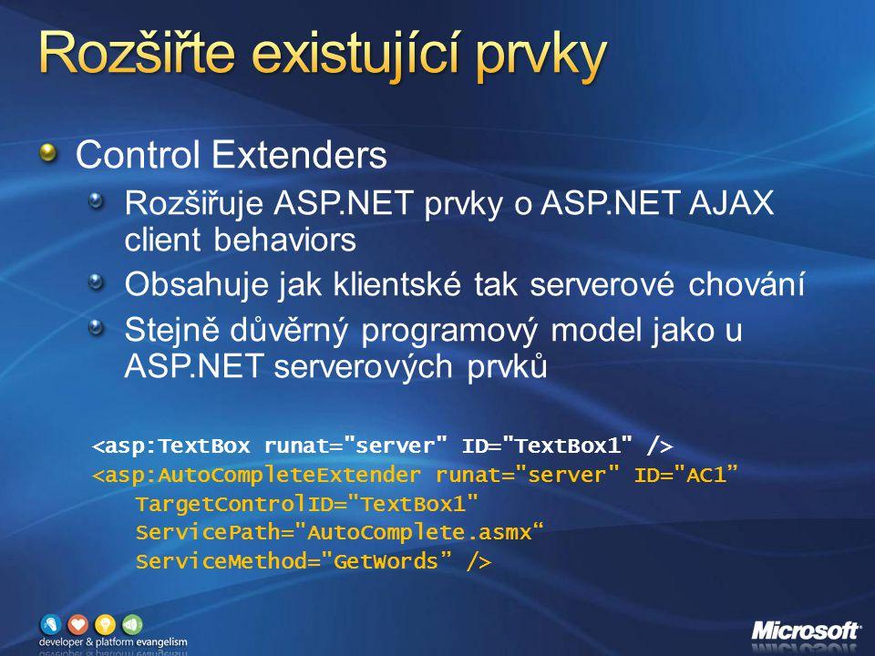 Control Extenders Rozšiřuje ASP.NET prvky o ASP.NET AJAX client behaviors Obsahuje jak klientské tak serverové chování Stejně důvěrný programový model jako u ASP.NET serverových prvků <asp:AutoCompleteExtender runat= server ID= AC1 TargetControlID= TextBox1 ServicePath= AutoComplete.asmx ServiceMethod= GetWords />