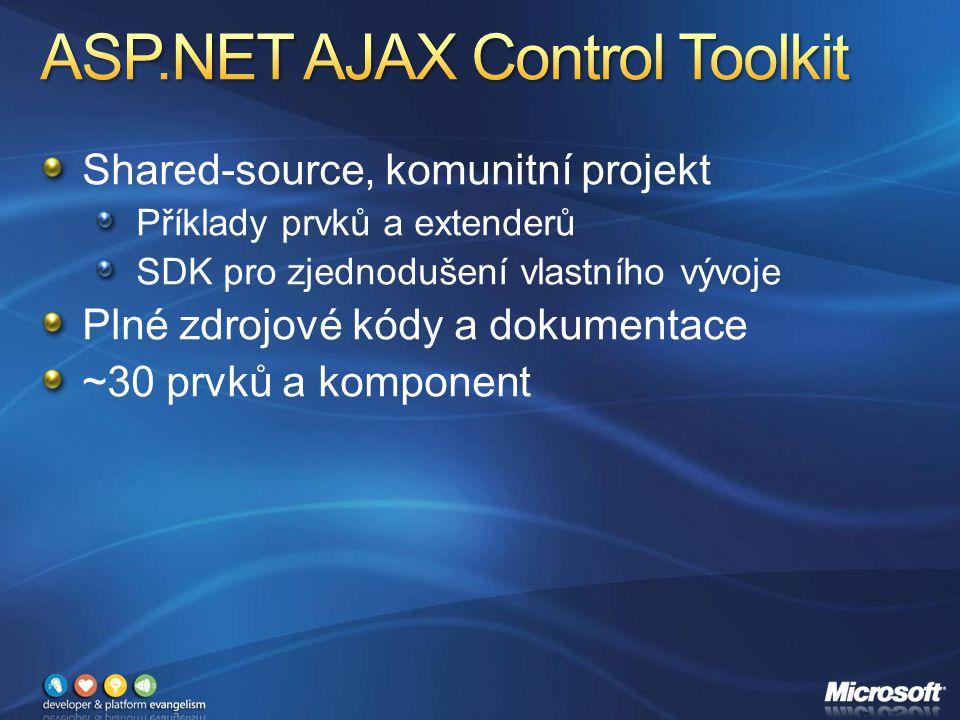 Shared-source, komunitní projekt Příklady prvků a extenderů SDK pro zjednodušení vlastního vývoje Plné zdrojové kódy a dokumentace ~30 prvků a komponent