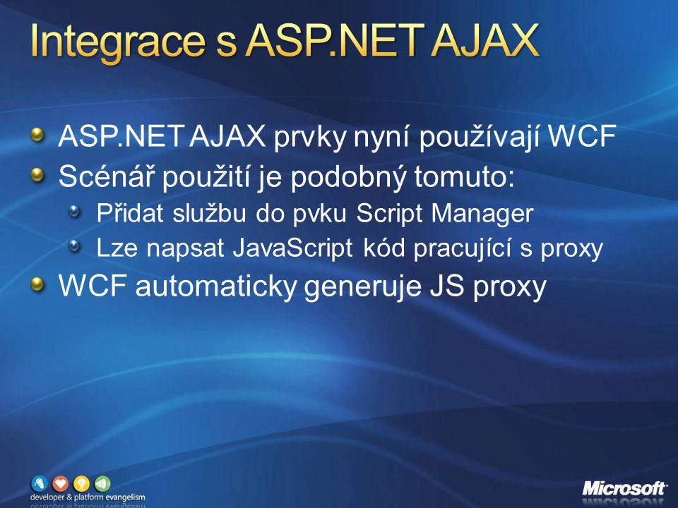 ASP.NET AJAX prvky nyní používají WCF Scénář použití je podobný tomuto: Přidat službu do pvku Script Manager Lze napsat JavaScript kód pracující s proxy WCF automaticky generuje JS proxy
