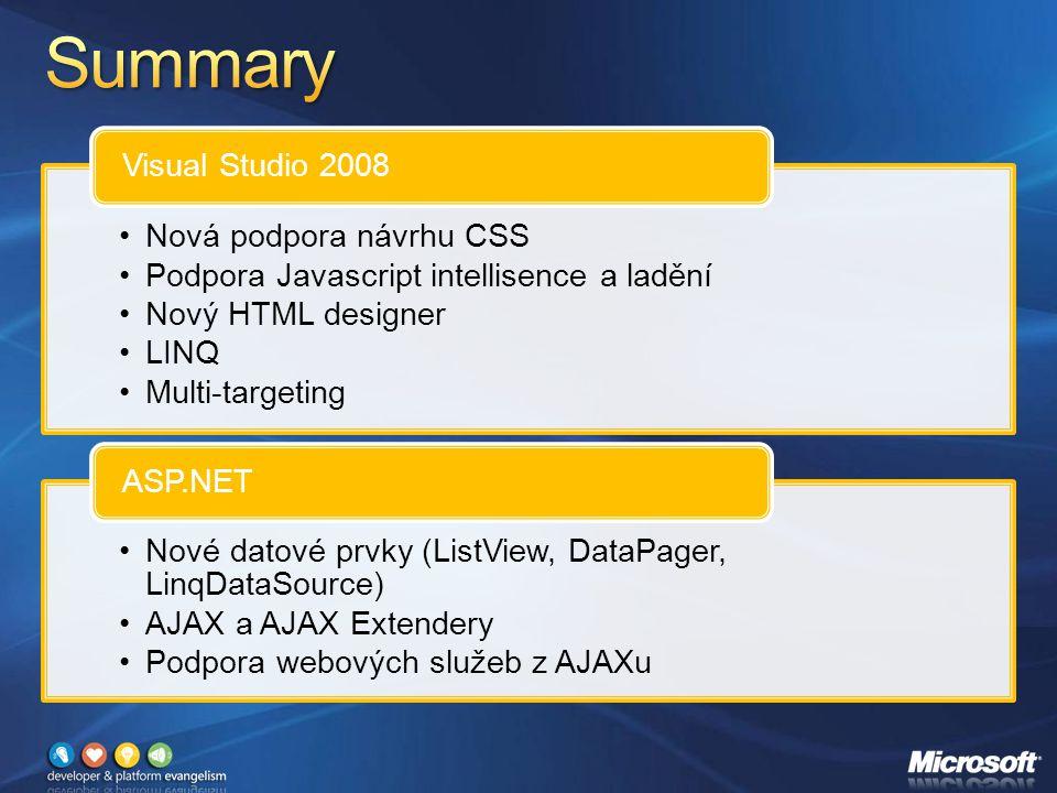 Nová podpora návrhu CSS Podpora Javascript intellisence a ladění Nový HTML designer LINQ Multi-targeting Visual Studio 2008 Nové datové prvky (ListView, DataPager, LinqDataSource) AJAX a AJAX Extendery Podpora webových služeb z AJAXu ASP.NET