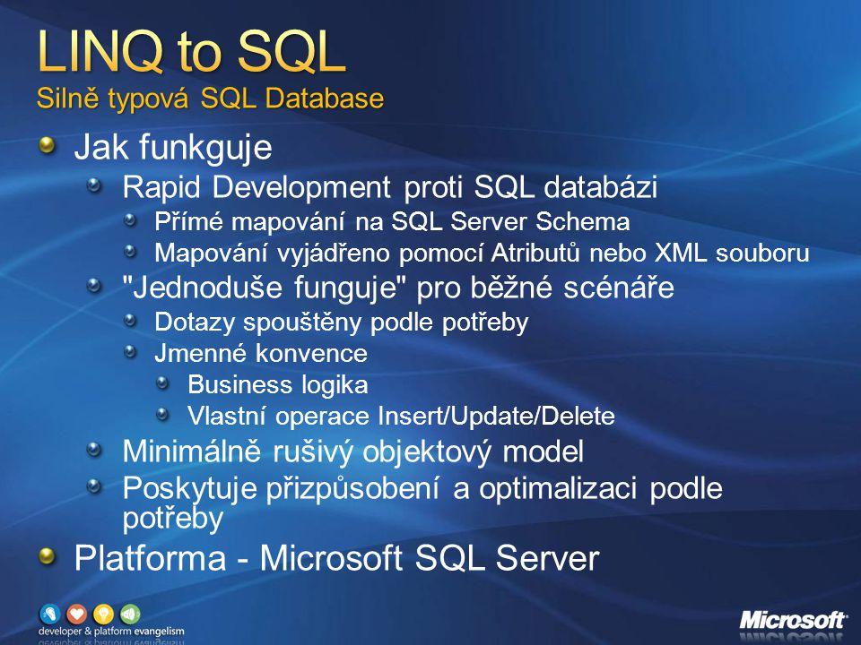 Jak funkguje Rapid Development proti SQL databázi Přímé mapování na SQL Server Schema Mapování vyjádřeno pomocí Atributů nebo XML souboru Jednoduše funguje pro běžné scénáře Dotazy spouštěny podle potřeby Jmenné konvence Business logika Vlastní operace Insert/Update/Delete Minimálně rušivý objektový model Poskytuje přizpůsobení a optimalizaci podle potřeby Platforma - Microsoft SQL Server