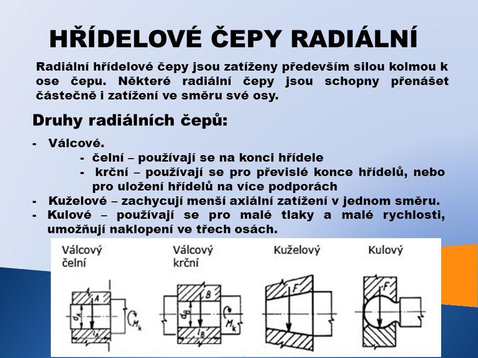 HŘÍDELOVÉ ČEPY RADIÁLNÍ Radiální hřídelové čepy jsou zatíženy především silou kolmou k ose čepu. Některé radiální čepy jsou schopny přenášet částečně
