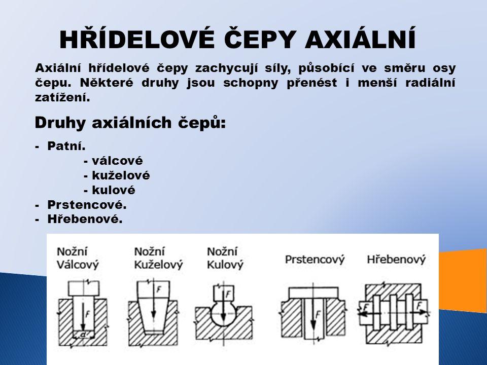 HŘÍDELOVÉ ČEPY AXIÁLNÍ Axiální hřídelové čepy zachycují síly, působící ve směru osy čepu. Některé druhy jsou schopny přenést i menší radiální zatížení