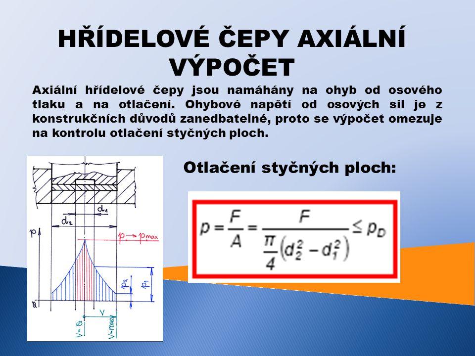 HŘÍDELOVÉ ČEPY AXIÁLNÍ VÝPOČET Axiální hřídelové čepy jsou namáhány na ohyb od osového tlaku a na otlačení. Ohybové napětí od osových sil je z konstru