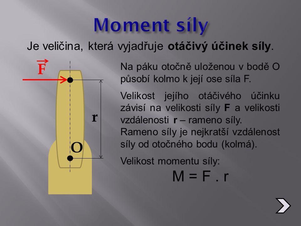 Je veličina, která vyjadřuje otáčivý účinek síly. F r O Na páku otočně uloženou v bodě O působí kolmo k její ose síla F. Velikost jejího otáčivého úči
